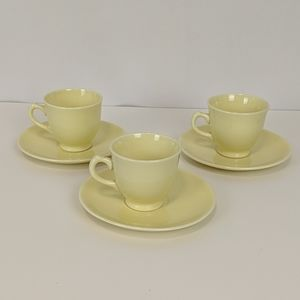 Vintage LuRay 3 Yellow Demitasse Cups Saucers MCM